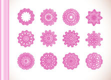 Ornamental round lace pink flower Stock Photos