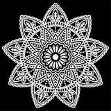 Ornamental round pattern design doodle. Ornamental round pattern, shirt design or tattoo. Henna tattoo doodle vector mandala on black background Royalty Free Stock Images