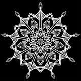 Ornamental round pattern design doodle. Ornamental round pattern, shirt design or tattoo. Henna tattoo doodle vector mandala on black background Stock Images
