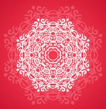Ornamental round red lace pattern Royalty Free Stock Photo