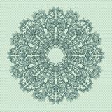 Ornamental round seamless lace pattern. Ornamental round FLORAL lace pattern.  blue gray Stock Image