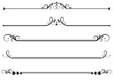 Ornamental Rule lines. Set of ornamental floral rule lines, decorative underlines
