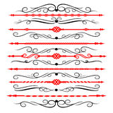 Ornamental rule lines in different design decor. Royalty Free Stock Photos