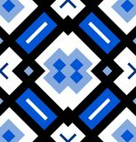 Ornamental seamless pattern or background in blue, black and white Royalty Free Stock Photo