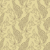 Ornamental seamless pattern with bird and leaf Stock Images