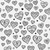 Ornamental seamless pattern with lacy hearts. Royalty Free Stock Images