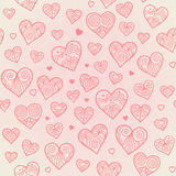 Ornamental seamless pattern with lacy hearts. Light pink background. It can be used for wallpaper, pattern fills, web page, surface textures, decoration for Royalty Free Stock Image