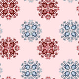 Ornamental seamless pattern on pink. Ornamental seamless flowers and plants pattern on pink Stock Image