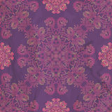 Ornamental seamless pattern on purple texture. Ornamental seamless flowers and plants pattern on purple texture Stock Image