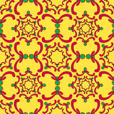 Ornamental seamless pattern. Red and green curve elements. Stock Images