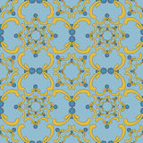 Ornamental seamless pattern. Vintage template. Blue background with yellow curve elements. Stock Image