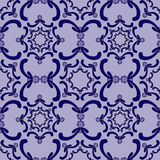 Ornamental seamless pattern. Vintage template. Blue curve elements. stock illustration