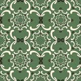 Ornamental seamless pattern. Vintage template. Curve elements. Ornamental seamless pattern. Vintage template. Curve elements on the green background. Filigree Stock Images