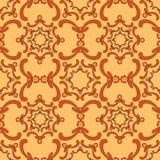 Ornamental seamless pattern. Vintage template. Curve elements. Orange background. Filigree texture Stock Photography