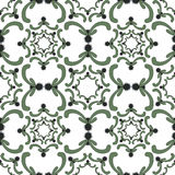 Ornamental seamless pattern. Vintage template. Green curve elements on the white background. Light filigree texture Stock Images