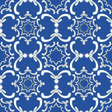 Ornamental seamless pattern. Vintage template. White curve elements on the blue background. Filigree texture Royalty Free Stock Photos