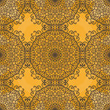 Ornamental seamless pattern on yellow texture. Endless  template can be used for wallpaper, pattern fills, textile, fabric, Royalty Free Stock Photo