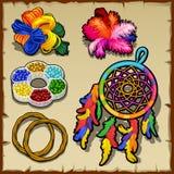 Ornamental set of rubber bands, dream catcher. Ornamental set of rubber bands, yarn, feathers and dream catcher royalty free illustration