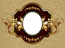 Ornamental shield. Oval shield in the colored frame, this  illustration may be useful  as designer work Stock Photos