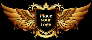Ornamental shield on a black background Royalty Free Stock Photos