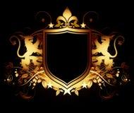 Ornamental shield on a black background Stock Photo