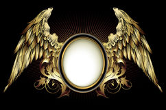 Ornamental shield with wings Stock Photo