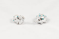 Ornamental silver snail and ladybird with gemstones Stock Image