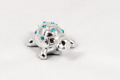 Ornamental silver turtle with gemstones Royalty Free Stock Photos
