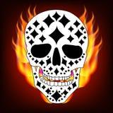 Ornamental skull icon 12. White skull with black rhombus ornament on fire background vector illustration royalty free illustration
