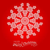 Ornamental snowflake on red background. Big holiday snowflake. Design for card, banner, invitation, leaflet and so on Stock Images