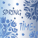 Ornamental spring card with blue and silver background Royalty Free Stock Images