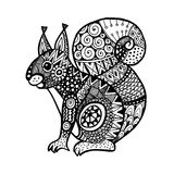 Ornamental squirrel, trendy ethnic zentangle design, hand drawn  Stock Photo