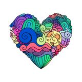 Ornamental St.Valentine`s greeting card with colorful zentangle doodle heart sketch. Ethnic tribal wavy vector heart Royalty Free Stock Image