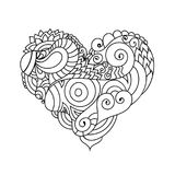 Ornamental St.Valentine`s greeting card with colorful zentangle doodle heart sketch. Ethnic tribal wavy vector heart Stock Images
