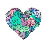 Ornamental St.Valentine`s greeting card with colorful zentangle doodle heart sketch. Ethnic tribal vector heart stock photo