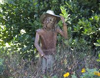 Ornamental Statue of girl in cowboy hat Royalty Free Stock Photography