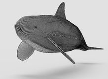 Ornamental structural design of Whale. 3D illustration. Ornamental structural design of Whale. Art object. 3D illustration royalty free illustration
