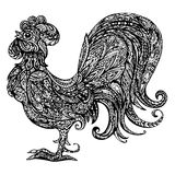Ornamental stylized rooster, black isolated on white background. Symbol of 2017 new year. Chinese calendar royalty free illustration