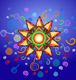 Ornamental sun. Vector ornamental sun on blue background vector illustration