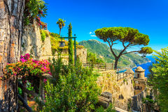 Ornamental suspended garden,Rufolo garden,Ravello,Amalfi coast,Italy,Europe. Romantic decoration flowers and ornamental garden,Villa Rufolo,Ravello,Amalfi coast Royalty Free Stock Photography