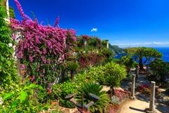 Ornamental suspended garden,Rufolo gardens,Ravello,Amalfi coast,Italy,Europe. Romantic decoration flowers and ornamental garden,Villa Rufolo,Ravello,Amalfi coast Stock Photo