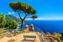 Ornamental suspended garden,Rufolo gardens,Ravello,Amalfi coast,Italy,Europe. Stunning relaxation place with bench and wonderful panorama,Villa Rufolo,Ravello Royalty Free Stock Photo