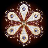 Ornamental symbol. Illustration of ornamental symbol of gold and diamonds. Flower Stock Photography