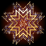 Ornamental symbol. Illustration of ornamental symbol of gold and diamonds. Multifaceted Star Stock Photography