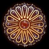 Ornamental symbol. Illustration of ornamental symbol of gold and diamonds. Flower Royalty Free Stock Photography