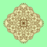Ornamental symmetrical square lace pattern. Royalty Free Stock Images