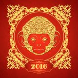 Ornamental template with golden frame and decorative monkey. Symbol of 2016 Ornate animal pattern design Red monkey.  Stock Photo