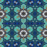 Ornamental blue and green flowers mosaic tile seamless pattern. Ornamental traditional style bold blue and green colorful flowers shapes repeating border mural Royalty Free Stock Image