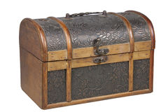 Ornamental Treasure Chest with Brass Handle and Clasp Royalty Free Stock Photo