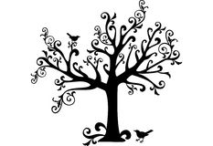 Ornamental tree. With swirls and birds